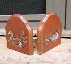 vintage wooden bookends cracker barrel decor mallard duck