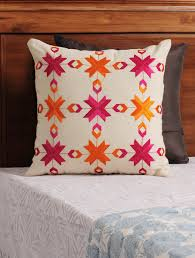 Peacock Colour Cushions Buy Cream Fuschia Orange Phulkari Embroidered Cotton Cushion