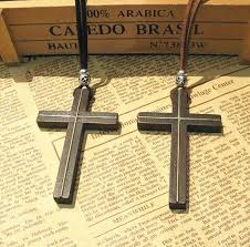 wholesale inlaid copper wooden cross pendant necklace vintage
