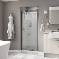 vigo soho 28 5 in x 70 625 in frameless pivot shower door in silverton 36 in x 64 3 4 in semi frameless pivot
