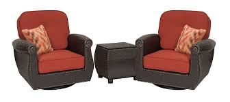 Patio Furniture Set by Breckenridge Red 3 Pc Patio Furniture Set 2 Swivel Rockers U0026side