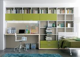 Green Color Schemes For Bedrooms - modern home office in one bedroom apartment design with green