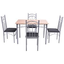 dining room tables san diego amazon com wakrays 5pcs wood and metal dining set table and 4