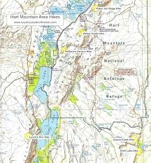 map of oregon mountains day hikes in the hart mountain area