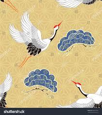 seamless pattern flying birds crane heron stock vector 685817005
