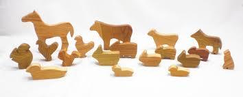 animal wood happy bungalow barnyard in a bag wood farm animal toys