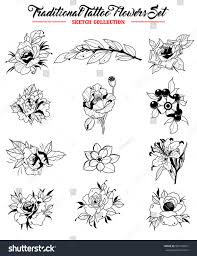 vector flowers set traditional tattoo designs stock vector
