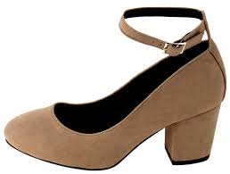 layla taupe almond toe extended ankle single strap chunky