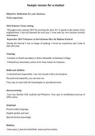 sample resume for a student or a 16 year old student http