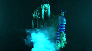 stew brewing witch with fog machine animated halloween prop
