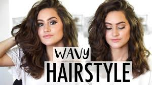 easy hairstyles for wavy medium length hair how to easy wavy hairstyle tutorial medium length to long youtube