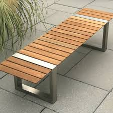 kingsley boca stainless steel and teak backless bench