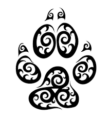 water element sign in a wolf paw print tattoos 3