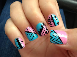 acrylic nail design nail art blue pink tribal nails pinterest