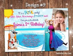 frozen summer birthday party photo invitations pool anna elsa