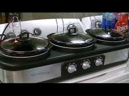 3 Crock Pot Buffet Recipes by Kitchen Living Aldi Triple Slow Cooker 2 5 Qt Review Youtube