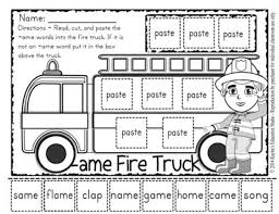 firefighter word families cut and paste kaylee u0027s education studio