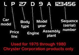 dodge ram 2500 vin decoder 1975 to 1980 chrysler corporation v i n system decoding
