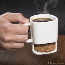 cookies milk coffee mug ceramic cup dunk mug with biscuit pocket