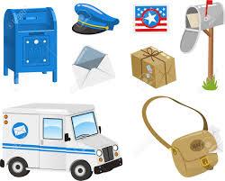 postal vehicles mail set post box postal stamp envelope package bag van