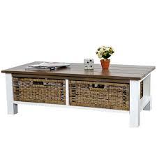 Wohnzimmertisch Mit Schublade Tula Wohnzimmertisch Beistelltisch Holztisch 38x112x52cm 2 Körbe