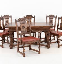Oak Dining Room Tables Vintage Tudor Style Oak Dining Table And Six Chairs Ebth