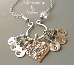 grandmother necklace necklace 6 grandchildren charms initials six children