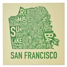 san francisco map san francisco neighborhood map 18 x 18 easy being green screenprint