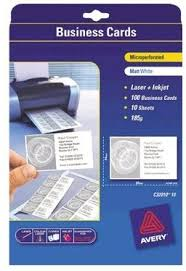 Avery Laser Business Cards 16 99 Laser Business Cards 180qsm Micro Perforated Edge 90x52mm