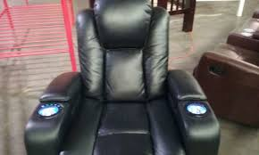 black leather power recliner chair w light up cup holders