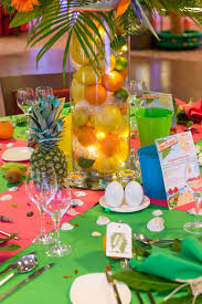caribbean tropical beach party table displays caribbean theme