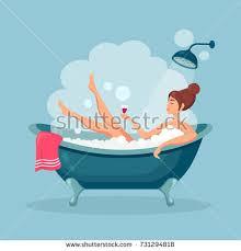Bathtub Wine Woman Relaxing Bathtub Wine Bath Foam Stock Vector 731294818