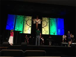 swirly banners church stage design ideas