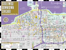 Chicago Elevated Train Map by Streetwise Downtown Chicago Map Laminated Street Map Of Downtown