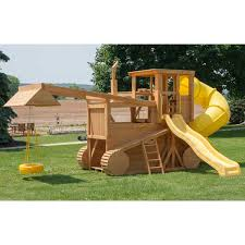 amish made 23x12 ft bulldozer and backhoe playground set with