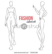 vector outline model template fashion stock vector 342589979