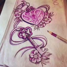pink ink shape lock and key with flowers design by