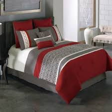 Bed Bath And Beyond Bloomington In Covington 8 Piece Comforter Set In Red Grey Bed Bath U0026 Beyond