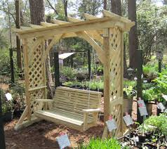 wondrous wooden arbor with pergola roof design featuring wooden
