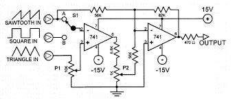 sawtooth generator circuit with 741 ic