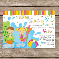best free printable colorful pool and beach party invitation and