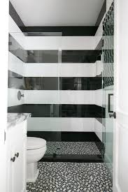 black and white striped shower tiles contemporary bathroom