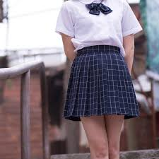 pleated skirts navy blue gray classical grid pleated skirts japanese school