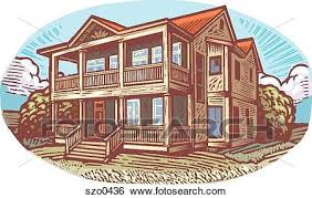 stock illustration of two storey house szo0436 search clip art