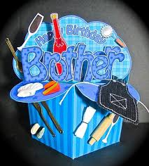 Brother Design Cards 3d Birthday Brother Diagonal Words Rubber Band Pop Up Box