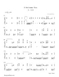 o christmas tree christmas song numbered musical notation preview