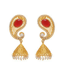 new jhumka earrings jaipur mart new traditional koyari design gold plated maroon