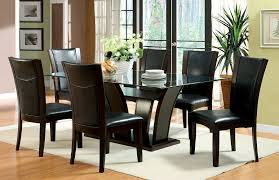 transitional manhattan 7pc glass top dining room table and chair set
