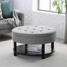 large round cocktail table ottoman belham living dalton coffee table round tufted storage
