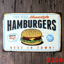 Home Decor Wall Signs tin sign hamburgers pin up metal decor wall art garage shop